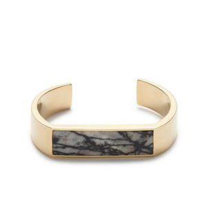 NWT J. Crew Flat Stone Cuff Bracelet Gold Black